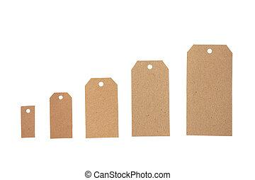 beige, espace, recycler, étiquettes, fond, isolé, ensemble, copie, blanc