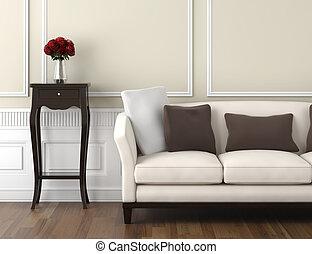 beige, et, blanc, classique, intérieur