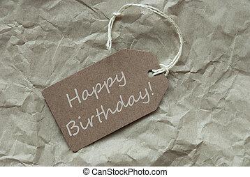 beige, etiqueta, con, feliz cumpleaños, papel, plano de fondo