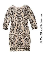 beige, femmina, vestire, con, uno, pattern.