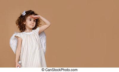 beige, flicka, klänning, litet, lockig, engelskt, sökande, ...