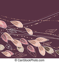 Beige floral background with contour flowers and plants