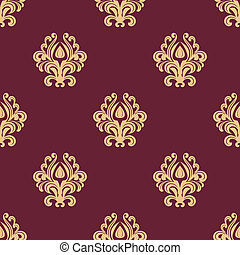 Beige floral seamless pattern on maroon background
