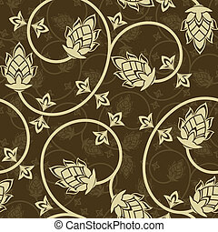 Beige flowers - Seamless pattern from beige flowers and...