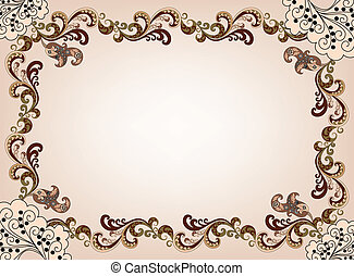 beige frame with ornate, brown border and decor in the corners