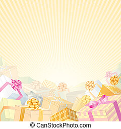 Beige Gift Backdrop - Soft Beige Backdrop with stack of gift...