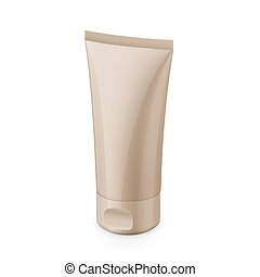 Beige glossy plastic tube for cosmetics