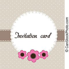 invitation card - beige invitation card with pink flowers....