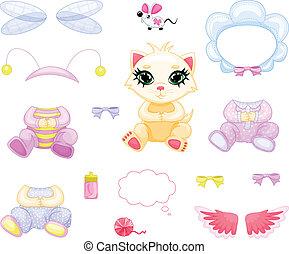 Beige kitten - A cute beige kitten, clothes, accessories and...