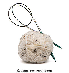 Beige knitting wool with needles