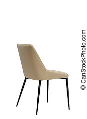 beige leather chair isolated on white background. modern beige stool back view. soft comfortable upholstered chair. interrior furniture element.