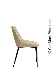 beige leather chair isolated on white background. modern beige stool side view. soft comfortable upholstered chair. interrior furniture element.