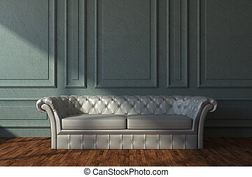 Beige leather sofa in classic room