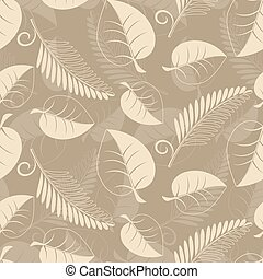 Beige leaves - Seamless pattern from beige leaves(can be...