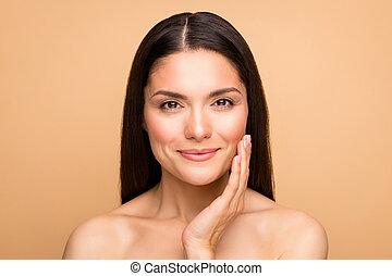 beige, liso, color, sin, maquillaje, natural, crema, pastel...