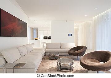 Beige luxury living room - Designed furniture in beige...