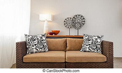 beige, marrone, regolazione, divano, interno