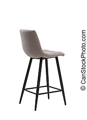 beige, mocco textile bar stool isolated on white background. modern beige, mocco bar chair back view. soft comfortable upholstered tall chair. interrior furniture element.