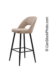 beige, mocco textile bar stool isolated on white background. modern beige, mocco bar chair front view. soft comfortable upholstered tall chair. interrior furniture element.