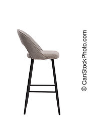 beige, mocco textile bar stool isolated on white background. modern beige, mocco bar chair side view. soft comfortable upholstered tall chair. interrior furniture element.