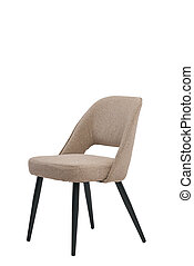 beige, mocco textile chair isolated on white background. modern beige, mocco stool front view. soft comfortable upholstered chair. interrior furniture element.