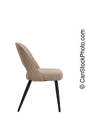 beige, mocco textile chair isolated on white background. modern beige, mocco stool side view. soft comfortable upholstered chair. interrior furniture element.