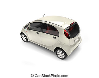 Beige modern compact car - rear side view