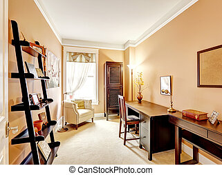 Beige tone office room with wooden furniture