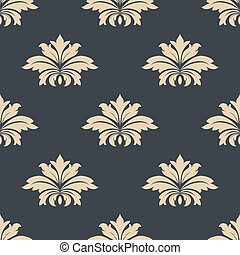 Beige on gray seamless floral pattern