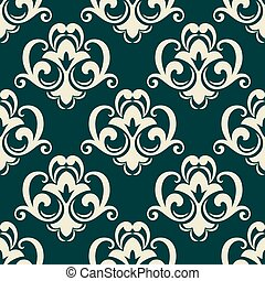 Beige on green seamless floral pattern