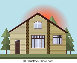 Beige painted Wooden house facade in the forrest. Vector illustration sunset background