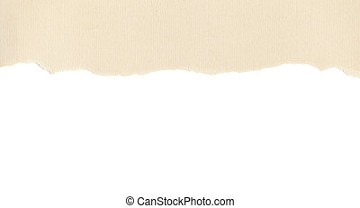 Beige paper with torn edge on white
