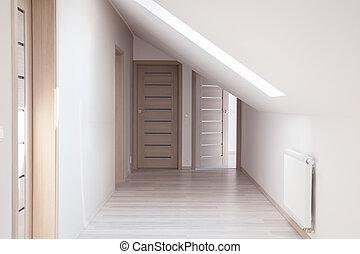 beige, pasillo, puertas