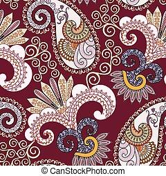 beige, patrón adornado, remolinos, seamless, decorativo, ...