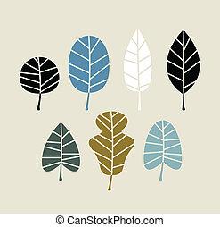 beige, retro, bladeren, achtergrond, vrijstaand, herfst