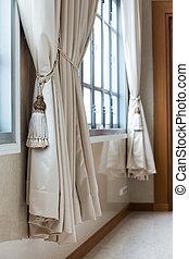 beige, rideaux, dans, a, classique, style., intérieur