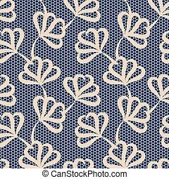 Beige seamless floral pattern on blue background