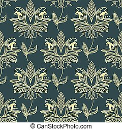 Beige seamless paisley floral pattern