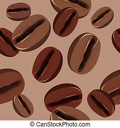 Beige seamless pattern with brown coffee beans