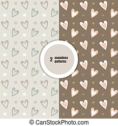 Beige seamless patterns. Vector.