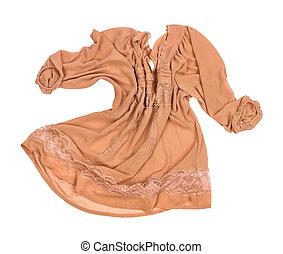 beige, seta, camicetta, con, laccio, cadute, aria, su, un, isolato, sfondo bianco