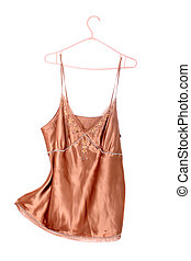 Beige silk top or camisole with jewels along the breast line