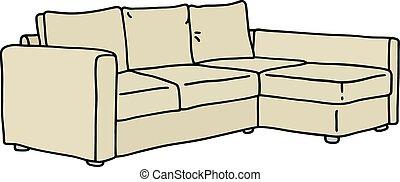 Beige sofa - Hand drawing of a beige big sofa