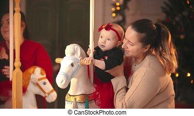 beige, sourire, -, mère, concept, chandail, noël, bébé,...