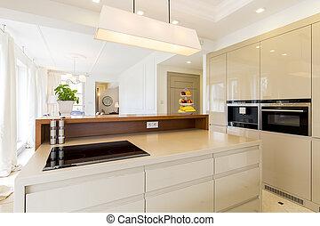 beige, spacieux, cuisine