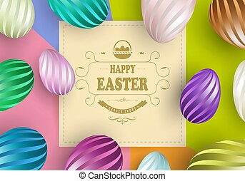 Beige square frame with multi-colored background and eggs in stripes