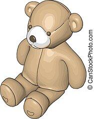 Beige teddy bear vector illustration on white background