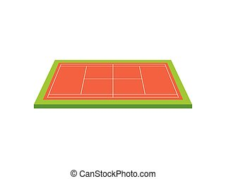 Beige tennis court. View from above. Vector illustration on white background.