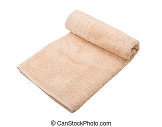 Beige towel isolated on white background.
