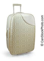 Beige travel suitcase